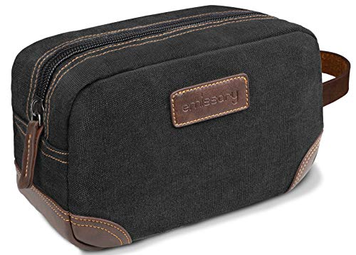 emissary Men's Toiletry Bag Leather and Canvas Travel Toiletry Bag Dopp Kit for Men Shaving Bag for Travel Accessories (Black)