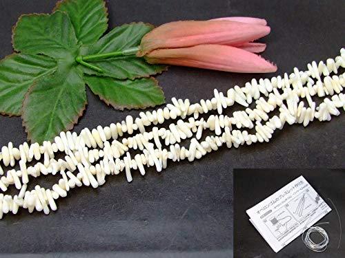g3-350H 白珊瑚 サンゴ コーラル 1連39cm 通し針、解説書、1mゴム付き さざれ アフリカ産 天然石 パワーストーン