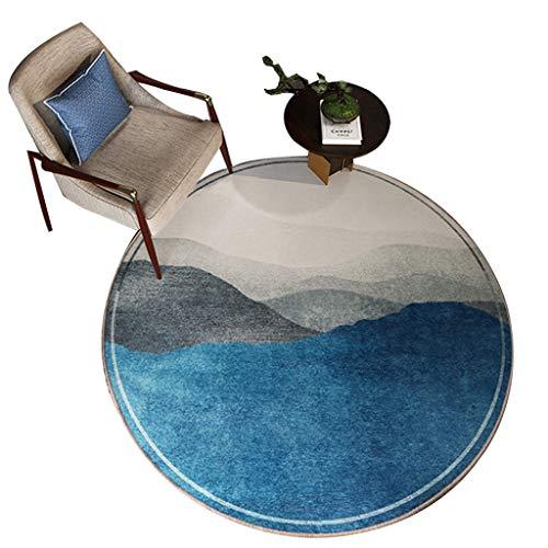 Alfombras Redonda China Manta De La Mesa De Centro De La Sala De Estar Dormitorio Estudio Sofá Colgante Cesta Silla (Color : Blue, Size : 100 * 100cm)