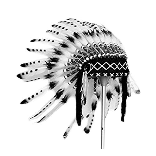 KARMABCN K07 Sombrero Indio 5-8 años Niño/Niña: Penacho con Pluma Real para 21 Pulgadas o 53,4 cm Blanco y Negro
