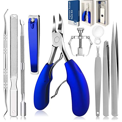 Ingrown Toenail Tool,Pedicure Kit Professional Tools 10Pcs,Toe Nail Clippers for Adult and Seniors,Fingernail Manicure Set,for Ingrown Toenail Treatment/Thick Nails/Normal Nails(blue)