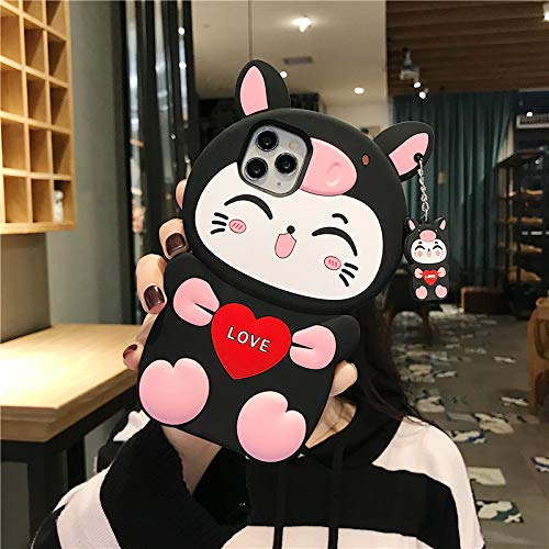 for Samsung Galaxy A51 Pig Cat Phone Case,3D Cartoon Animal Character Design Cute Soft Silicone Kawaii Cover,Cool Cases for Kids Boys Girls (Black,Samsung Galaxy A51)