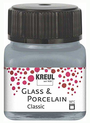 Kreul 16246 - Glass und Porcelain Classic, brillante Glas- und Porzellanmalfarbe auf Wasserbasis, schnelltrocknend, deckend, 20 ml im Glas, metallic silber
