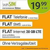 Handyvertrag winSIM LTE All 20 GB - ohne Vertragslaufzeit (FLAT Internet 20 GB LTE mit max 50 MBit/s mit deaktivierbarer Datenautomatik,FLAT Telefonie,FLAT SMS und EU-Ausland 19,99 Euro/Monat)