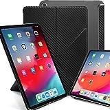 KHOMO iPad Pro 12.9 2018 Smart Cover Schutzhülle mit Halbtransparenter Silikonrückseite & Origami Aufstellungsmöglichkeiten - Kohlefaser