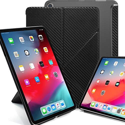 KHOMO iPad Pro 12.9 2018 Smart Cover Schutzhülle mit Halbdurchsichtiger Silikonrückseite und Origami Aufstellungsmöglichkeiten - Kohlefaser