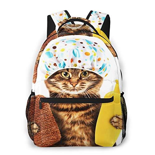 Laptop Rucksack Schulrucksack Lustige Katzen Badewanne es, 14 Zoll Reise Daypack Wasserdicht für Arbeit Business Schule Männer Frauen