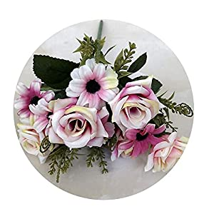 Sevem-D New Artificial Camellia 1Bunch French Silk Rose Floral Bouquet Arrange Table Daisy Wedding Flowers Accessory,Pink 2