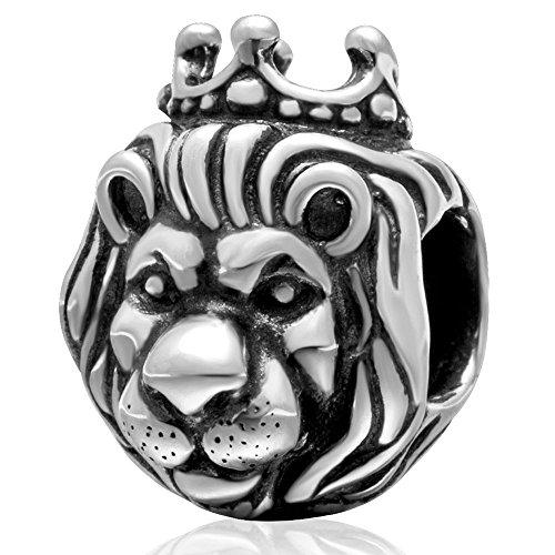 Charm Re Leone, in argento sterling 925, compatibile con braccialetti europei
