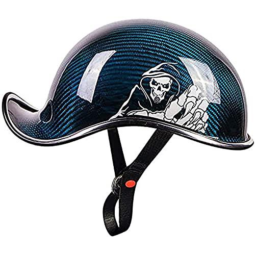 F&FSH Scooter De Ciclomotor Vintage, Medio Casco De Motocicleta De Cara Abierta Casco De Helicóptero De Crucero De Estilo Alemán Casco De Estilo De Gorra De Béisbol De Verano (Color: Azul)