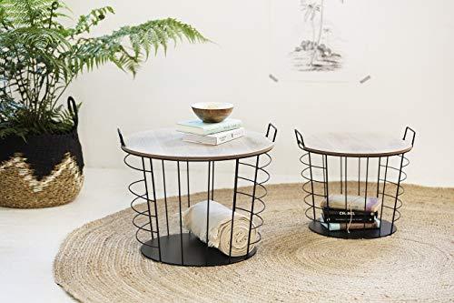 LIFA LIVING Juego de 4 mesas de centro redondas de metal negro con espacio de almacenamiento, 2 x 2 mesas auxiliares con cesta en la industria y estilo vintage, capacidad de carga de 10 kg