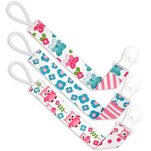 cadena para chupete Nombre regalos para bautizo regalos de beb/é con nombres Cadena para chupete con nombres Baby con nombres rosa rosa Talla:talla /única