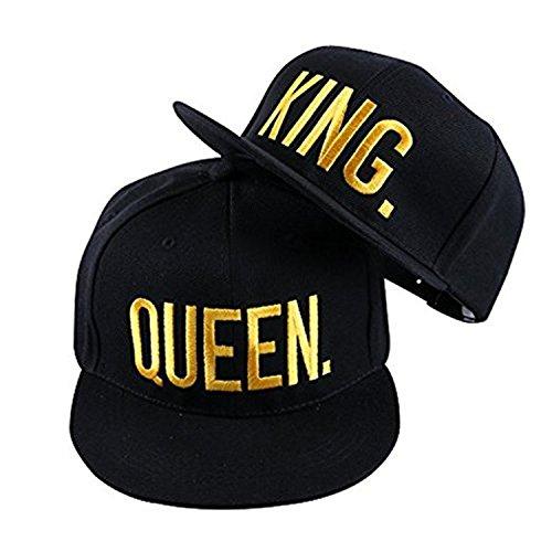 JIAJIA YL Baseballmütze Für Liebhaber Paare Bestickte Rapper Cap -Snapback King/Queen verfügbar 2 Stück (Glod)