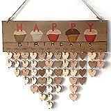 Ogquaton DIY Vintage Calendario de Madera Recordatorio de cumpleaños Placa Placa Decoración...