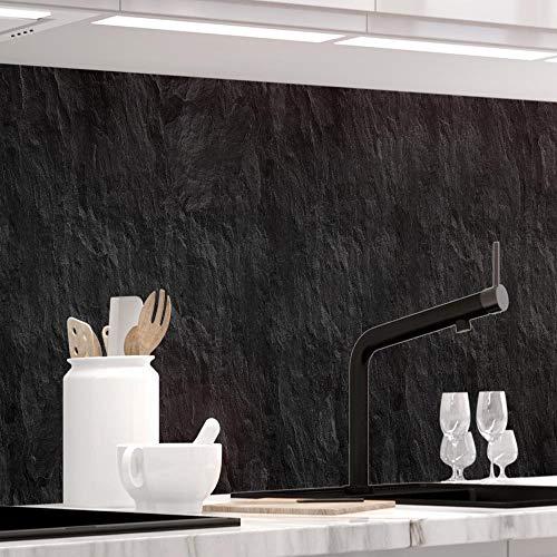 Küchenrückwand 1,5mm selbstklebend - SCHIEFER - Hartkunststoff, alle Untergründe möglich, Spritzschutz, PREMIUM 60 x 400cm