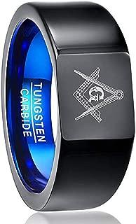 Men's Vintage Masonic Ring Tungsten Carbide Black Square Freemason Symbol High Polished Wedding Band Size 7-12