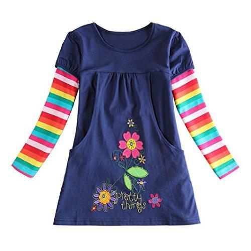 JERFER JERFER Mädchen Crewneck Langarm Casual Karikatur Stickerei Party T-Shirt Kleid Kinderkleider Festliche 2-8 T/Jahre (Marine, 3T)
