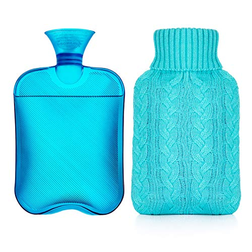 Samply Hot Water Bottle- 2 Liter Water Bag with Knitted Cover,Transparent Blue