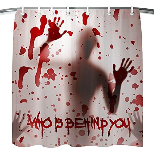 Garma Halloween Shower Curtain Horror Bloody Hands Shower Curtain for Halloween Theme Decorations Scary Shower Bathroom Shower Curtains with 12 Hooks 71x71 Inch