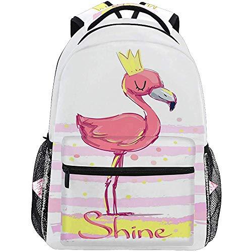 G.H.Y Shine Cute Flamingo Sacs à Dos pour Les Femmes, Trendy Floral Casual Ordinateur Portable Sac à Dos, Kid's Book Bag Voyage Sports Randonnée Camping Daypack