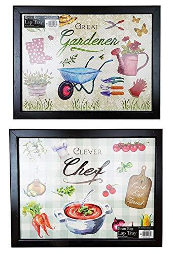YoL Cushioned bean bag lap tray set of 2 gardener & chef designs wooden food TV laptop home office lap desk