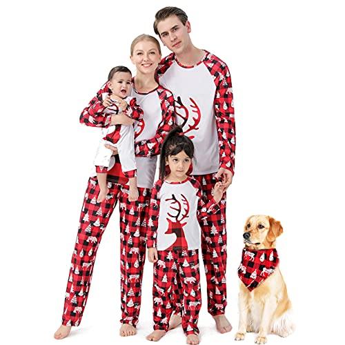 K-Youths 2PCS Conjunto de Traje para Padres e Hijos Body - Rojo Traje de Ropa de Navidad clásico - Conjuntos de Pijamas de Vacaciones Pijamas de Halloween Conjunto de Lindo Disfraz de Manga Larga