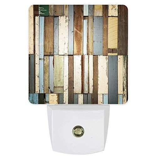 Lámpara de luz nocturna de madera rústica, con sensor, luces LED de pared, sensor de anochecer a amanecer para dormitorio, lactancia, pasillo, escaleras, decoración del hogar, multicolor