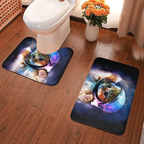 Baño Almohadilla antideslizante Animal Gato Astronauta Alfombra de baño impresa Juego de alfombrillas 2 piezas Almohadillas suaves Alfombra de baño + Contorno de absorción de agua 40x60cm-29