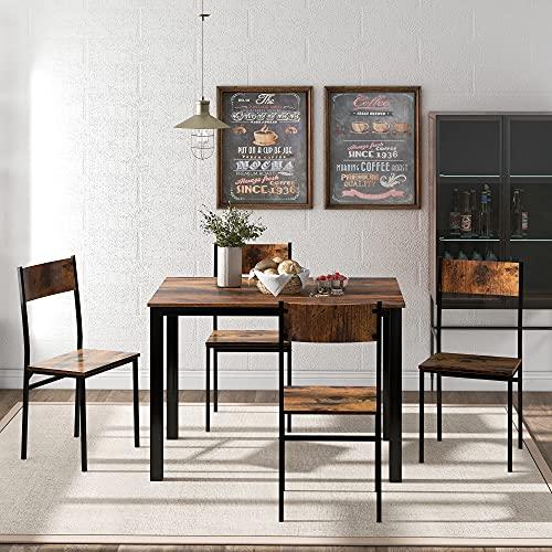 ModernLuxe Sitzgruppe, Esszimmergruppe Esstisch mit 4 Stühlen, für Balkon & Esszimmer & Wohnzimmer, Vintagebraun