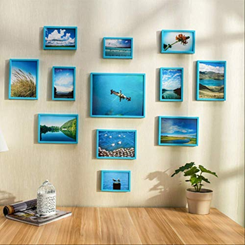 YKDDII Fotolijsten Frame Combinatie Voor Wanddecoratie 12 Stks/set Blauw Fotolijst Thuis Muur Hangend Frame Voor Schilderen Klassiek Mode Multifunctionele Fotolijst