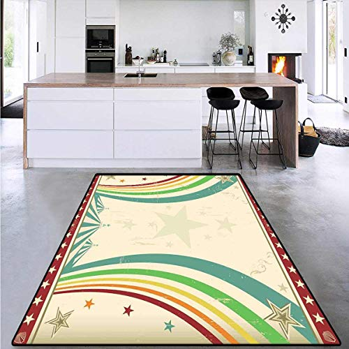 Vintage Rainbow, Floor Mat for Kids, Old School Circus Tents Design with Stars and Curved Lines Advertisement, Area Rug Boys Room 4'7' x 5'4' Multicolor