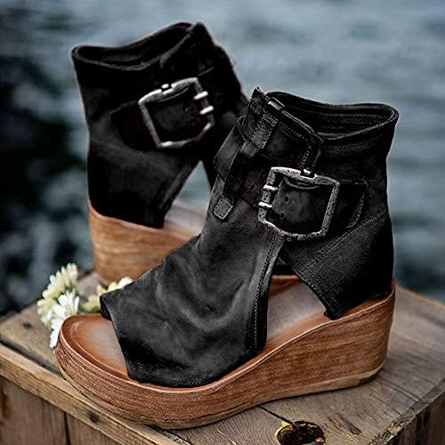 EUUK Primavera Verano 2021 Mujer Sandalias Zapatos de Plataforma con Punta Abierta de Cuero Sintético de Ocio Cuña Playa Zapatillas Roman Tacones Altos Fiesta Boda