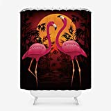 Cortina de Ducha con Estampado de flamencos Cortina de baño de Tela Impermeable de poliéster-1_90x180cm