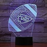 Kansas City Chiefs American Football 3D Lava Lampe Kreative 7 Farbwechsel Led Nachtlicht Geschenke Schlafzimmer Tischlampe