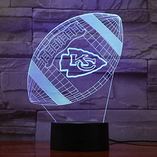 Kansas City Chiefs Rugby 3D Lava Lampe Kreative 7 Farbwechsel Led Nachtlicht Geschenke Schlafzimmer Tischlampe