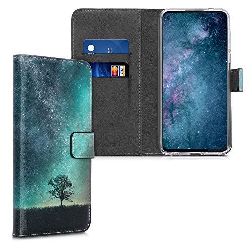 kwmobile Wallet Hülle kompatibel mit Motorola Moto G Pro - Hülle Kunstleder mit Kartenfächern Stand Galaxie Baum Wiese Blau Grau Schwarz