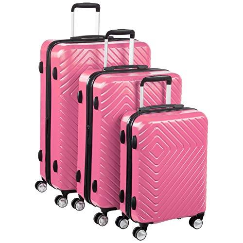 AmazonBasics - Trolley con motivo geometrico, Set da 3 pezzi (55 cm, 68 cm, 78 cm), Rosa