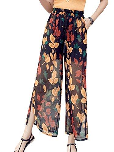 Primavera Verano Elegantes Mujer Pantalones De Tiempo Libre Estampadas Flor Mode De Marca Abiertas Chiffon Bandage Anchos Cómodo Largos Pants Pantalones De Cintura Alta Joven Estilo Moderno