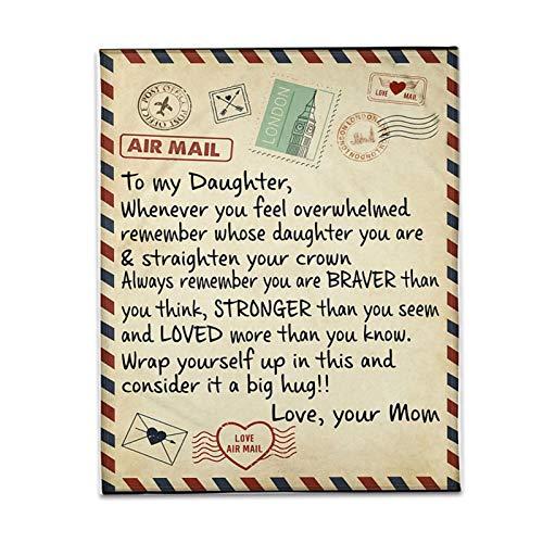 N/Q Fleecedecke, Decke zu meiner Tochter werfen Brief Gedruckte Quilts Papa Mutter für Tochter Luftpost Decke Positive Ermutigung und Liebe Tochter Flanell Decke Geschenke