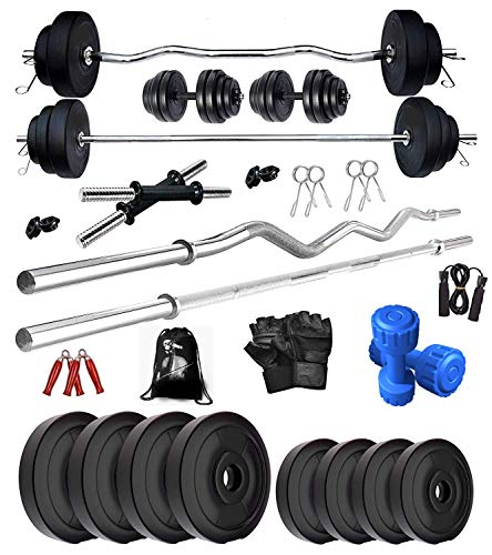 BODYFIT Fitness Weight Plates Gym Set Combo-Wb Leather Glove Home Gym Exercise Kit (30 Kg), PVC