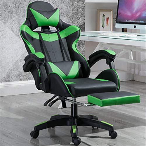 ZaiHuiShou Gaming stoel bureaustoel draaibare lederen bureaustoel Ergonomische Recliner met gewatteerde voetsteun en Lumbar kussen in hoogte verstelbaar