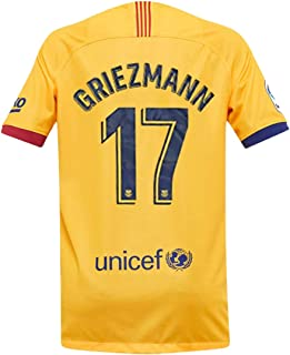 Rigerye 2019-2020 Barcelona New Season #17 Griezmann Away Men's Soccer Jersey & League Armbands Color Yellow (S-XL)