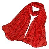 KAVINGKALY Bufandas de lunares de mujer Bufandas de seda de gasa roja Largas y ligeras Envolturas de primavera Chales Bufandas (Negro + Rojo)