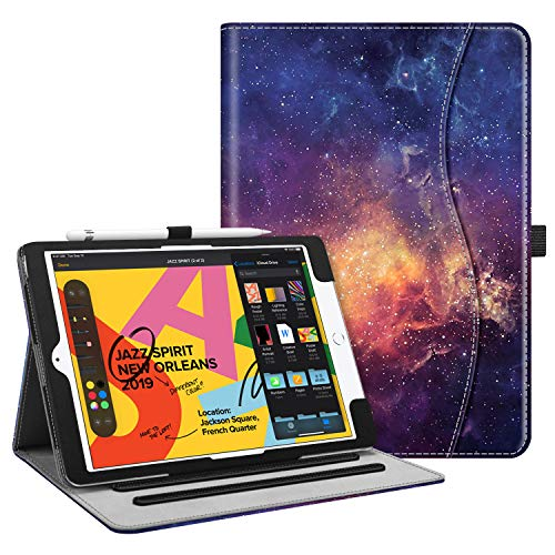 Fintie Case for New iPad 7th Generation 10.2 Inch 2019 - [Corner Protection] Multi-Angle Viewing Folio Smart Stand Back Cover with Pocket, Pencil Holder, Auto Wake/Sleep for iPad 10.2', Galaxy