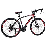 YAOYAOK Lightweight Aluminum Road Bike 21 Speed Disc Brakes 700c Wheels Frame Full Suspension Bike Fashionable Road Bicycles for Mens/Womens Multiple Colour (Black&Red)