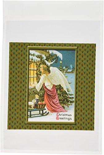 3dRose FL_153206_1 Vintage-Weihnachtskarte mit Engel in einem Fenster schaut mit einem Weihnachtsbaum auf Weihnachtsbaum-Hintergrund, Gartenflagge, 30,5 x 45,7 cm