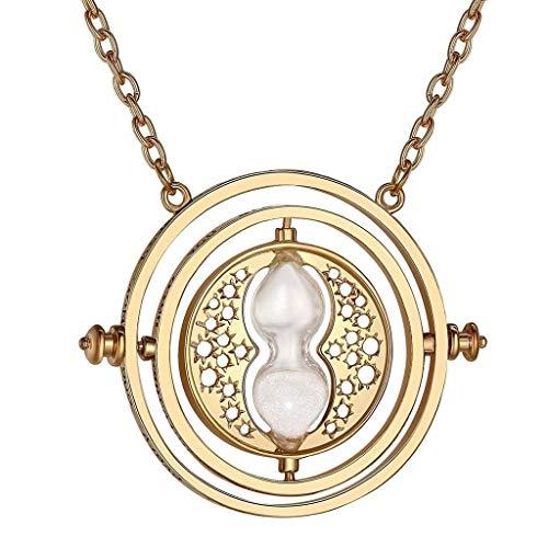 Collar giratiempo para mujer, reloj de arena beis de color dorado, Hermione de Harry Potter