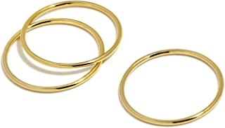 Gold Rings for Women, Dainty Stackable Rings for Women, 1mm Very Thin Band in 14K Gold Filled or 14K Solid Gold, Delicate Simple Jewelry, Made in USA, Size 5-9