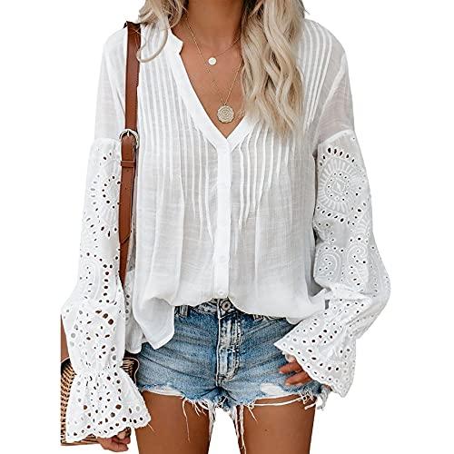 YLXAJKJGS-XCH Diseño de moda casual suelta camisa superior hueco bordado de encaje de las mujeres cuello en V acampanado manga botón camisa