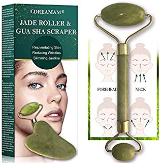 Jade Roller & Gua Sha Board for Face, Facial Jade Roller, Jade Facial Roller Massager Kit,Anti Aging Jade Stone Massager Set Real Natural Face,Eye and Neck Skincare Massage Tool